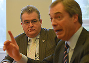© Licensed to London News Pictures. 23/03/2013. Exeter, UK (l-r) Radio presenter Jon gaunt holds a press conference with Nigel Fargae, leader of UKIP, after he announces he is joining UKIP.The UK Independence Party (UKIP) 2013 Spring Conference is held at the Great Hall, Exeter University today, Saturday 23rd March 2013. Support for the party is rising after success in the recent Eastleigh by-election, where UKIP came second behind the Liberal Democrats. Photo credit : Stephen Simpson/LNP