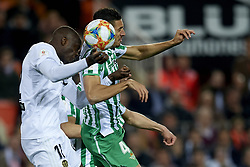 February 28, 2019 - Valencia, Valencia, Spain - Mouctar Diakhaby of Valencia and Zou Feddal of Betis during the Copa del Rey Semi Final match second leg between Valencia CF and Real Betis Balompie at Mestalla Stadium in Valencia, Spain on February 28, 2019. (Credit Image: © Jose Breton/NurPhoto via ZUMA Press)