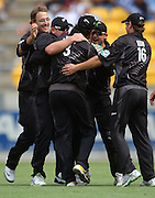 Black Caps players congratulate Ross Taylor for catching Paul Collingwood.<br /> One-day International Cricket Match. New Zealand v England. Westpac Stadium, Wellington, New Zealand. Saturday 9 January 2008. Photo: Dave Lintott/PHOTOSPORT