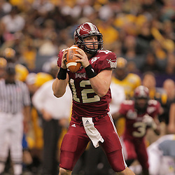 21 December 2008: Troy quarterback Levi Brown looks to pass during a 30-27 overtime victory by the Southern Mississippi Golden Eagles over the Troy Trojans in the  R+L Carriers New Orleans Bowl at the New Orleans Superdome in New Orleans, LA.