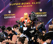 1/29/13 New Orleans LA.-Veron Davis speaks to the media  during Super Bowl XLV11 Media Day at the the Mercedes Benz Super Dome for the NFC champion San Francisco 49ers's and the AFC Champions  Baltimore Ravens  prior to Super Bowl XLV11 in New Orleans. Photo©Suzi Altman