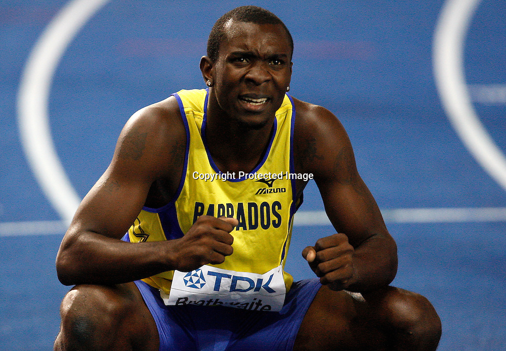Ryan Brathwaite of Barbados celebrates winning the gold medal in the Men's 110m Hurdles race during the 12th IAAF Athletic World Championships at the Olympic Stadium in Berlin, Germany, 20 August 2009. Photo: Wrofoto/PHOTOSPORT