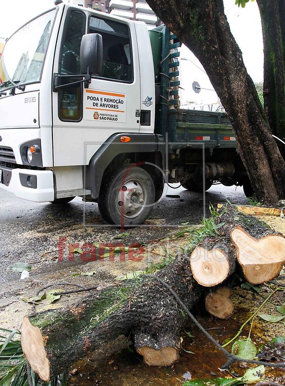 Poda e retirada de árvores que caíram com o temporal da ultima quinta feira 20 esta sendo realizada, por equipes da Prefeitura no bairro da Pompeia e Lapa, na zona Oeste de São Paulo, na manhã desta terça-feira 25. Foto Marcelo D. Sants/FramePhoto.