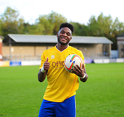 Bristol Rovers' Ellis Harrison with the match ball after getting a hat trick - Photo mandatory by-line: Neil Brookman/JMP - Mobile: 07966 386802 - 25/10/2014 - SPORT - Football - Dorchester - The Avenue Stadium - Dorchester Town v Bristol Rovers - FA Cup Qualifying with Budweiser