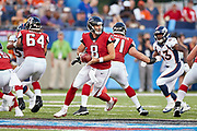 Atlanta Falcons quarterback Matt Schaub (8) during the Pro Football Hall of Fame Game at Tom Benson Hall of Fame Stadium, Thursday, Aug. 1, 2019, in Canton, OH. The Broncos defeated the Falcons 14-10. (Robin Alam/Image of Sport)