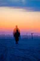Out of body experience at sunset on a beach in the Camargue, France.