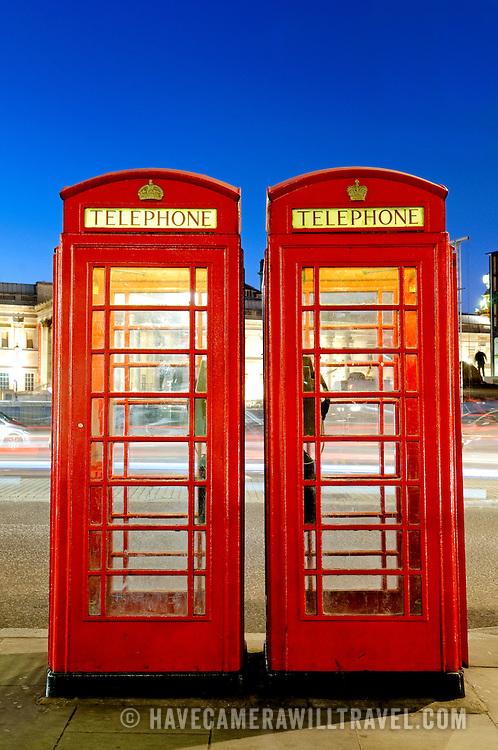 British public telephone box at Trafalgar Square
