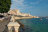 Seafront Cafes in Ortigia in Syracuse, Sicily, Italy