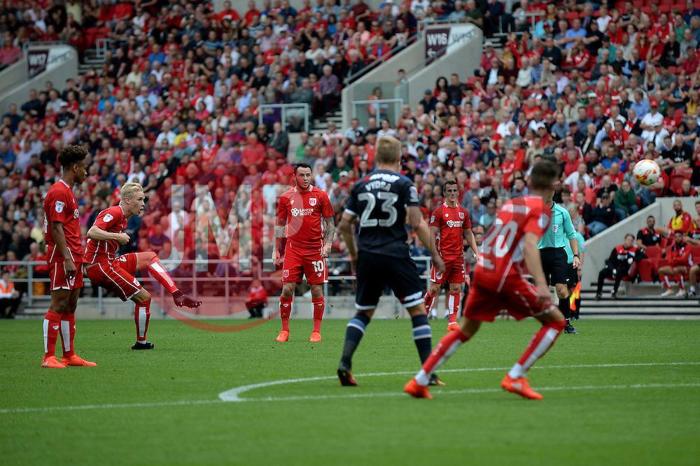 Hordur Magnusson of Bristol City takes a free kick - Mandatory by-line: Dougie Allward/JMP - 17/09/2016 - FOOTBALL - Ashton Gate Stadium - Bristol, England - Bristol City v Derby County - Sky Bet Championship