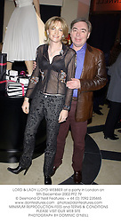 LORD & LADY LLOYD-WEBBER at a party in London on 5th December 2002.	PFZ 79