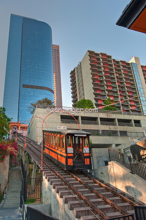 Angels Flight (or Angel's Flight), landmark, funicular railway,  Bunker Hill, district, of, Downtown, Los Angeles, CA, two, funicular cars, Sinai, and, Olivet, tracks, connecting Hill Street, and, California Plaza High dynamic range imaging (HDRI or HDR)
