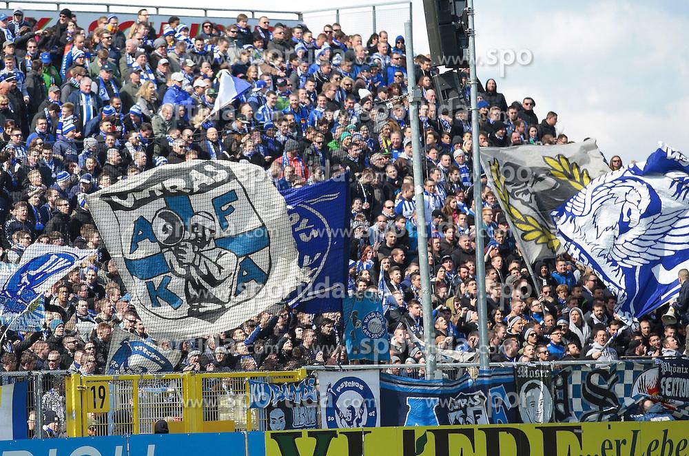 05.04.2015, Scholz Arena, Aalen, GER, 2. FBL, VfR Aalen vs Karlsruher SC, 27. Runde, im Bild KSC Fanblock // during the 2nd German Bundesliga 27th round match between VfR Aalen and Karlsruher SC at the Scholz Arena in Aalen, Germany on 2015/04/05. EXPA Pictures &copy; 2015, PhotoCredit: EXPA/ Eibner-Pressefoto/ Bozler<br /> <br /> *****ATTENTION - OUT of GER*****