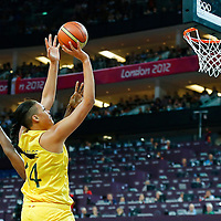 09 August 2012: Australia Elizabeth Cambage goes for the jumpshot over USA Tina Charles during 86-73 Team USA victory over Team Australia, during the women's basketball semi-finals, at the 02 Arena, in London, Great Britain.