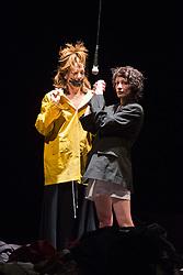 "© Licensed to London News Pictures. 8 April 2014. London, England. L-R: Elsie de Brauw and Berengere Bodin. Photocall for the UK premiere of Alain Platel's ""tauberbach"" performed by les ballet C de la B at Sadler's Wells, London. The piece is performed by dancers/actors Berengere Bodin, Elie Tass, Elsie de Brauw, Lisi Estaras, Remeu Runa and Ross McCormack. At Sadler's Wells on 8 and 9 April 2014. Photo credit: Bettina Strenske/LNP"