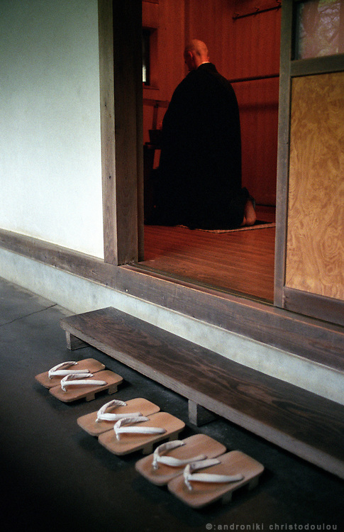 LIVING ZEN - HOSHINJI MONASTERY, OBAMA-JAPAN..Small ceremony for the washing of Buddha's handkerchief.