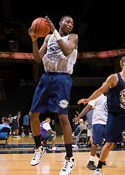 C/F Cadarian Raines (Petersburg, VA / Petersburg) grabs a rebound.  The NBA Player's Association held their annual Top 100 basketball camp at the John Paul Jones Arena on the Grounds of the University of Virginia in Charlottesville, VA on June 20, 2008