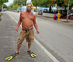 Raymond Captain is prepared to rescue people as he stands on Duval Street in Key West, FL, USA., on Saturday, September 9, 2017. Hurricane Irma is approaching the Florida Keys and some residents refused to be evacuated. Photo by Charles Trainor Jr./Miami Herald/TNS/ABACAPRESS.COM