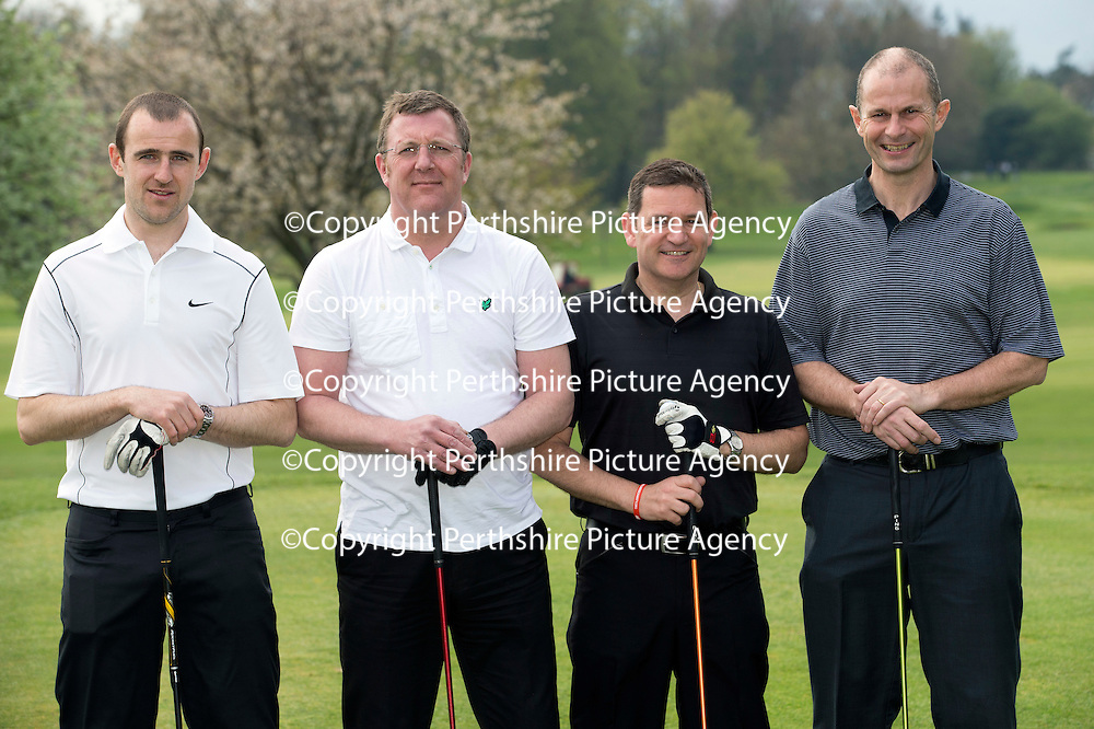 St Johnstone FC Annual Golf Day at Crieff Golf Club....28.04.14<br /> Pictured from left, Dave Mackay, Roddy Grant, Chairman Steve Brown and Pete Loudon.<br /> Picture by Graeme Hart.<br /> Copyright Perthshire Picture Agency<br /> Tel: 01738 623350  Mobile: 07990 594431