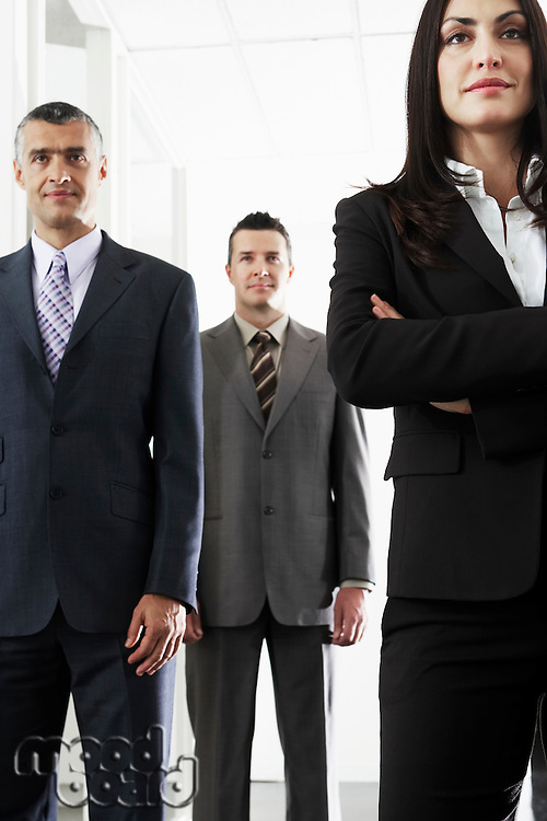 Businesswoman and two businessmen portrait