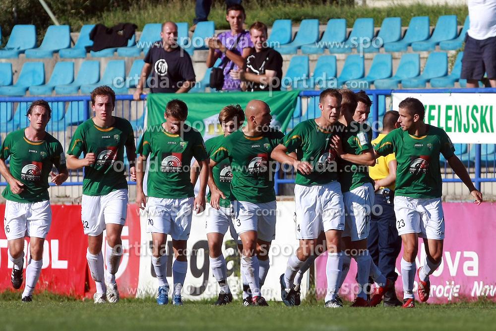 Players of Rudar celebrate first goal  at 6th Round of PrvaLiga Telekom Slovenije between NK Primorje Ajdovscina vs NK Rudar Velenje, on August 24, 2008, in Town stadium in Ajdovscina. Primorje won the match 3:1. (Photo by Vid Ponikvar / Sportal Images)
