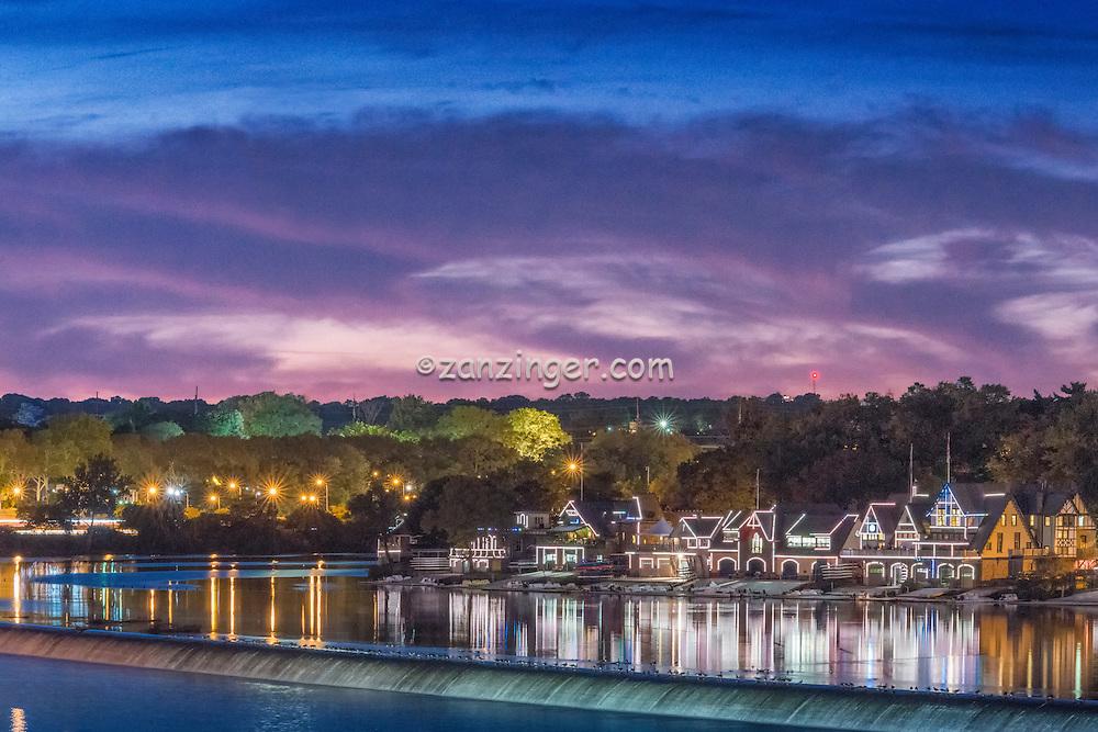 Schuylkill Navy, River, Reflections, Sunset, Houses Lit,  Boat House, Row, Philadelphia, PA,