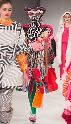 © Licensed to London News Pictures. 01/06/2015. London, UK. Collection by Rebecca Carrington. Fashion show of the Manchester School of Art at Graduate Fashion Week 2015. Graduate Fashion Week takes place from 30 May to 2 June 2015 at the Old Truman Brewery, Brick Lane. Photo credit : Bettina Strenske/LNP
