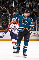 March 13, 2010; San Jose, CA, USA; San Jose Sharks left wing Ryane Clowe (29) celebrates after scoring a goal against the Florida Panthers during the first period at HP Pavilion. Florida defeated San Jose 3-2 in overtime. Mandatory Credit: Jason O. Watson / US PRESSWIRE