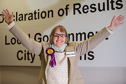 Frances Fox is elected Peterborough's 1st UKIP Councillor for Paston Ward Peterborough  at the count in Peterborough as they take Conservative seats in 3 wards in the Peterborough area in the local Picture By i-Images