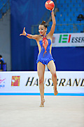 "Agagulian Iasmina during ball routine at the International Tournament of rhythmic gymnastics ""Città di Pesaro"", 02 April,2016 . She is an Armenian rhythmic gymnastics athlete born in Yerevan in 2001.<br />