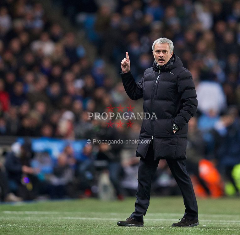 MANCHESTER, ENGLAND - Monday, February 3, 2014: Chelsea's manager Jose Mourinho during the Premiership match against Manchester City at the City of Manchester Stadium. (Pic by David Rawcliffe/Propaganda)