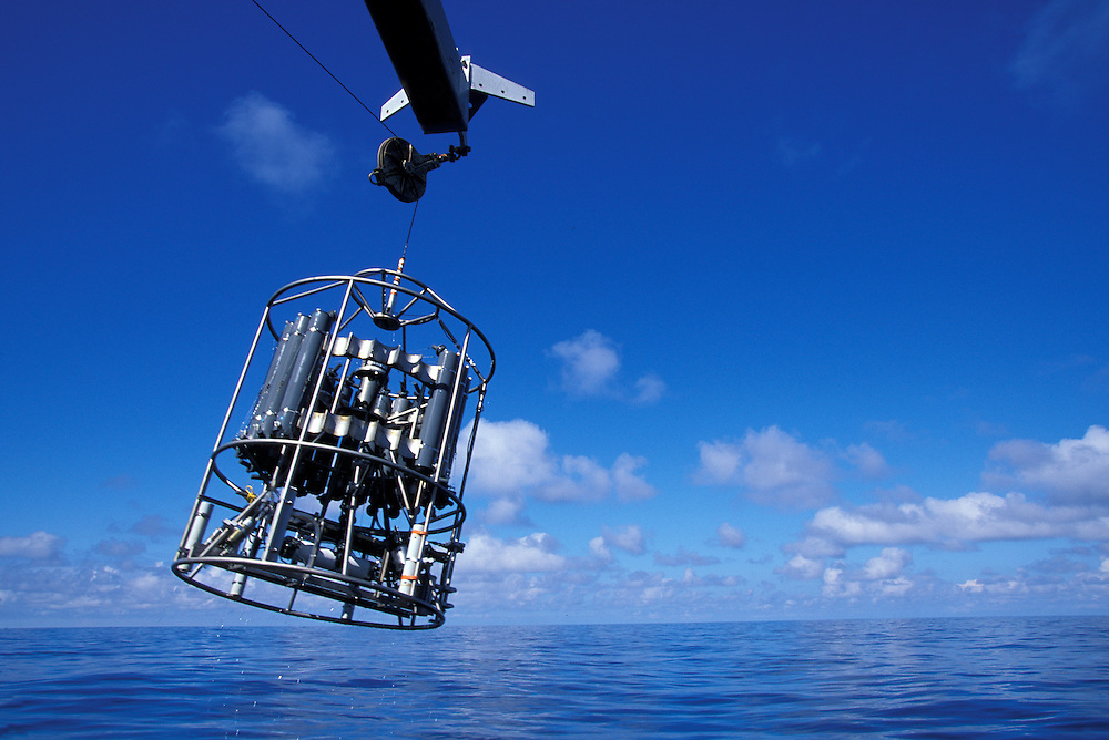 USA, Washington, Deep ocean sampling device is launched from U of Washington research ship R/V Thomas G. Thompson