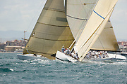 Hissar KZ 5 and Wright on White KZ 3, 12 Meter Class, sailing in the Valencia 12 Metre Regatta.