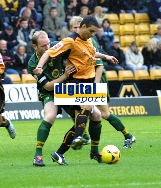 Photo: Dave Linney.<br />Wolverhampton Wanderers v Norwich City. Coca Cola Championship. 05/11/2005. Vio Ganea holds the ball off from Ian Henderson(Norwich)