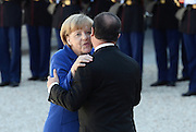 FRANCOIS HOLLANDE, ANGELA MERKEL - NORMANDY FORMAT SUMMIT ON THE SITUATION IN UKRAINE<br /> ©Exclusivepix Media