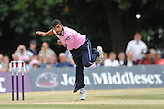 Ravi Patel bowling during the NatWest T20 Blast South Group match between Middlesex County Cricket Club and Somerset County Cricket Club at Uxbridge Cricket Ground, Uxbridge, United Kingdom on 26 June 2015. Photo by David Vokes.