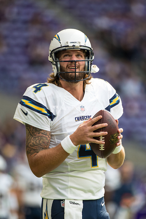 Aug 28, 2016; Minneapolis, MN, USA; San Diego Chargers quarterback Zach Mettenberger (4) during a preseason game against the Minnesota Vikings at U.S. Bank Stadium. The Vikings defeated the Chargers 23-10. Mandatory Credit: Brace Hemmelgarn-USA TODAY Sports