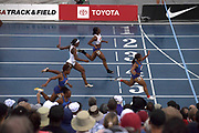 Jul 28, 2019; Des Moines, IA, USA; Dezerea Bryant (6) defeaets Brittany Brown (4), Anglerne Annelus aka Angie Annelus and Phyllyis Francis (7) to win the women's 200m in 22.47 during the USATF Championships at Drake Stadium.