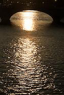 France. Paris. 4th district. the seine river and the  Pont louis Phillipe bridge  .  the seine river between le Marais and Saint louis island, /  le pont louis Phillipe traverse la seine du Marais a l ile saint Louis