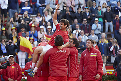 April 8, 2018 - Valencia, Valencia, Spain - David Ferrer of Spain celebrates the victory with his teammates in is match against Philipp Kohlschreiber of Germany during day three of the Davis Cup World Group Quarter Finals match between Spain and Germany at Plaza de Toros de Valencia on April 8, 2018 in Valencia, Spain  (Credit Image: © David Aliaga/NurPhoto via ZUMA Press)