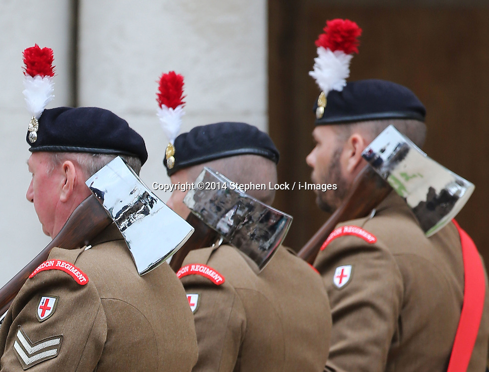 Image licensed to i-Images Picture Agency. 28/06/2014. London, United Kingdom. The London Regiment Axemen at the Solemn Drumhead Service at the Royal Hospital Chelsea, London. The service was to commemorate those who volunteered to serve in the First World War on the Centenary of the assassination of Archduke Franz Ferdinand.  Picture by Stephen Lock / i-Images