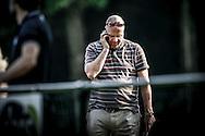 03-07-2015 VOETBAL:CHARLEROI:WILLEM II:DOORWERTH<br /> <br /> Brabants Dagblad verslaggever Max van der Put aan het bellen langs het veld<br /> <br /> foto: Geert van Erven