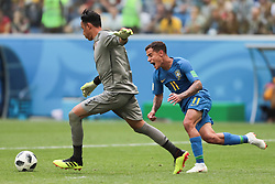 June 22, 2018 - Saint Petersburg, U.S. - SAINT PETERSBURG, RUSSIA - JUNE 22: midfielder Philippe Coutinho of Brazil and goalkeeper Keylor Navas of Costa Rica during the Group E 2018 FIFA World Cup soccer match between Brazil and Costa Rica on June 22, 2018, at Saint Petersburg Stadium in Saint Petersburg, Russia. (Photo by Anatoliy Medved/Icon Sportswire) (Credit Image: © Anatoliy Medved/Icon SMI via ZUMA Press)