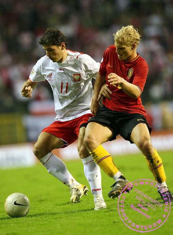 BRUSSELS 15/11/2006..BELGIUM _ POLAND..Euro 2008 Group G qualifier ...RADOSLAW MATUSIAK OF POLAND AND ..FOT. PIOTR HAWALEJ / WROFOTO