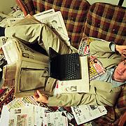 Portrait of Matt Drudge, internet columnist who formed the wildly popular Drudge Report.