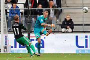 Sam Larsson of Feyenoord, Marco Bizot of AZ Alkmaar