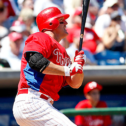 March 25, 2012; Clearwater, FL, USA; Philadelphia Phillies first baseman Jim Thome (25) doubles during the bottom of the third inning of a spring training game against the Baltimore Orioles at Bright House Networks Field. Mandatory Credit: Derick E. Hingle-US PRESSWIRE