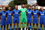 AFC Wimbledon midfielder Scott Wagstaff (7), AFC Wimbledon defender Tennai Watson (2), AFC Wimbledon striker James Hanson (18), AFC Wimbledon goalkeeper Tom King (1), AFC Wimbledon midfielder Anthony Wordsworth (40), AFC Wimbledon midfielder Mitchell (Mitch) Pinnock (11), AFC Wimbledon defender Terell Thomas (6) during the AFC Wimbledon 2018/19 official photocall at the Kings Sports Ground, New Malden, United Kingdom on 31 July 2018. Picture by Matthew Redman.
