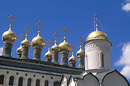 Golden church cupolas in the Kremlin<br /> Moscow, Russia