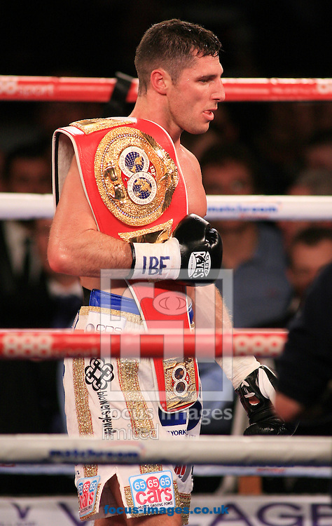 Tommy Coyle celebrates winning his fight and retaining his belt during their IBF International Lightweight Championship at Hull Ice Arena, Hull<br /> Picture by Richard Gould/Focus Images Ltd +44 7855 403186<br /> 25/10/2014