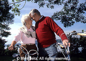 Active Aging Senior Citizens, Retired, Activities, Elderly Couple Outdoor Recreation, Staying Fit, Enjoying Nature Playful, Romantic Elderly Couple, Bicycles